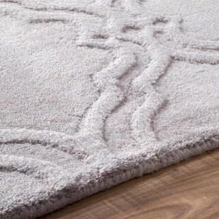 nuLOOM Handmade Modern Trellis Fancy Wool Rug (7'6 x 9'6) in Grey (As Is Item)