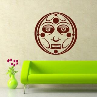 Sun Moon Crescent Ethnical Burgundy Vinyl Sticker Wall Art