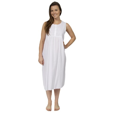 Leisureland Women's Cotton Sleeveless Embroidered Victorian Nightgown