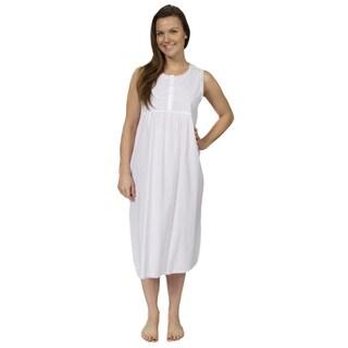 Leisureland Women's Cotton Sleeveless Embroidered Victorian Nightgown