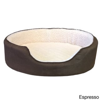 Furhaven Sherpa and Suede Orthopedic Oval Pet Bed (More options available)