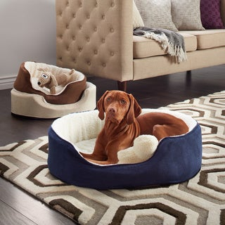 Furhaven Sherpa and Suede Orthopedic Oval Pet Bed