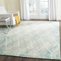 Safavieh Hand-Tufted Dip Dye Green/ Ivory Grey Wool Rug - 4' x 6'