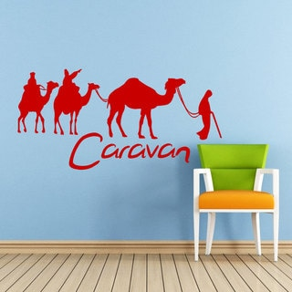 Desert Camel Caravan Red Vinyl Sticker Wall Art