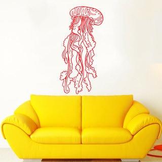 Jellyfish Red Vinyl Sticker Wall Art