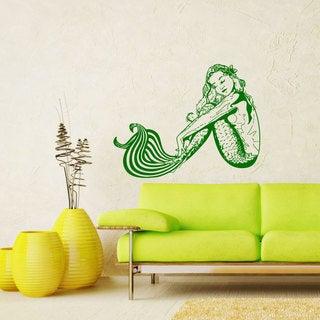 Dreaming Mermaid Green Vinyl Sticker Wall Art