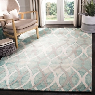 Safavieh Handmade Dip Dye Watercolor Vintage Green/ Ivory Grey Wool Rug (5' x 8')
