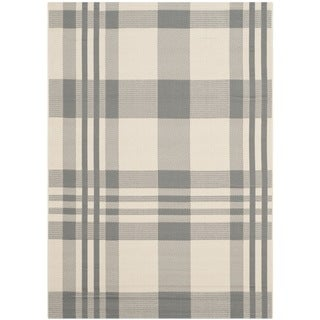 Safavieh Courtyard Plaid Grey/ Bone Indoor/ Outdoor Rug (9' x 12')