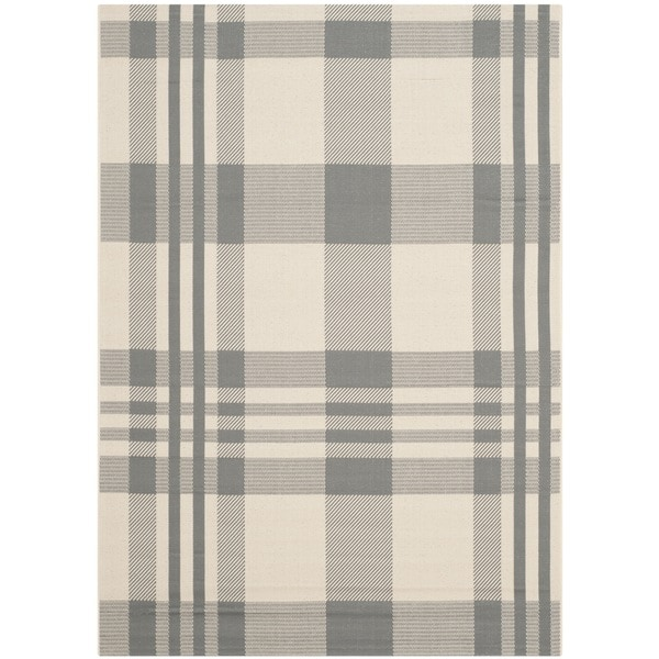 Safavieh Courtyard Plaid Grey/ Bone Indoor/ Outdoor Rug - 9' x 12'