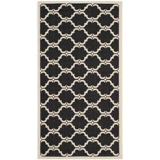 Safavieh Courtyard Moroccan Black/ Beige Indoor/ Outdoor Rug (2' x 3'7)