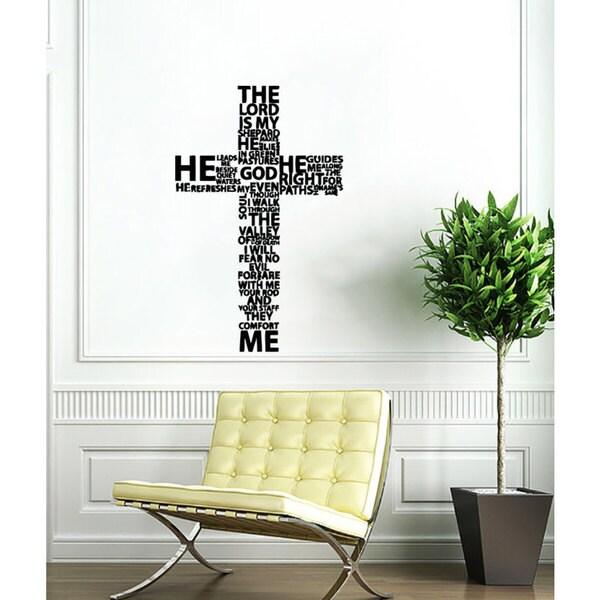 Black Jesus Wall Art: Shop Cross Jesus Christ Black Vinyl Sticker Wall Art