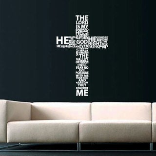 Cross Jesus Christ White Vinyl Sticker Wall Art