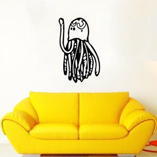 Funny Jellyfish Black Vinyl Sticker Wall Art