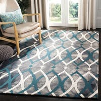 Safavieh Handmade Dip Dye Watercolor Vintage Grey/ Ivory Blue Wool Rug (5' x 8')