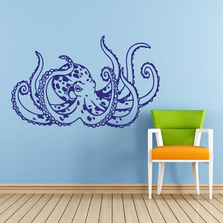 Octopus Blue Vinyl Sticker Wall Art
