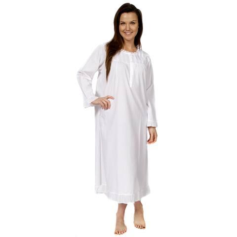 Leisureland Women's Long Sleeve Victorian Nightgown