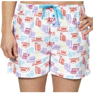 "Leisureland Women's ""Crown of Love"" Cotton Flannel Pajama Boxer Shorts"