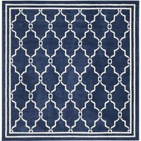 Safavieh Indoor/ Outdoor Amherst Navy/ Beige Rug - 7' Square