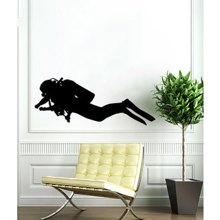Black Scuba Diver Vinyl Sticker Wall Art