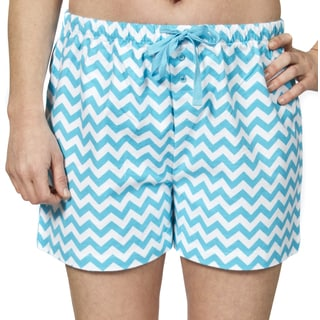 Leisureland Women's Cotton Flannel Chevron Pajama Boxer Shorts