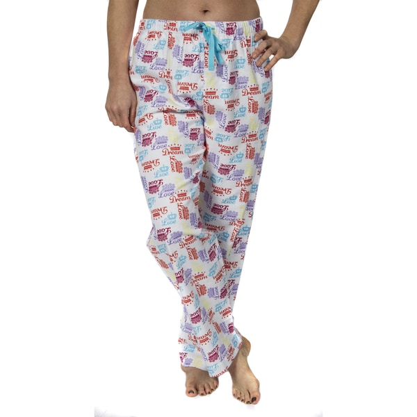 """Leisureland Women's """"Crown of Love"""" Cotton Flannel Pajama Pants. Opens flyout."""