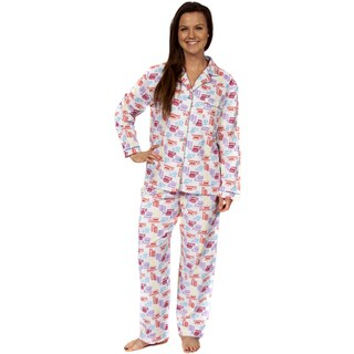 Leisureland Women's Cotton Flannel Pajama Set Crown of Love