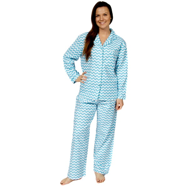 Leisureland Women's Chevron Print Cotton Flannel Pajama Set