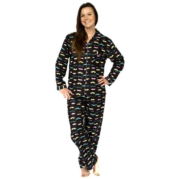 Leisureland Women's Mustache Print Cotton Flannel Pajama Set