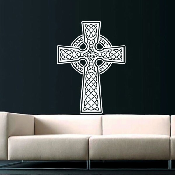 Celtic Cross White Vinyl Sticker Wall Art