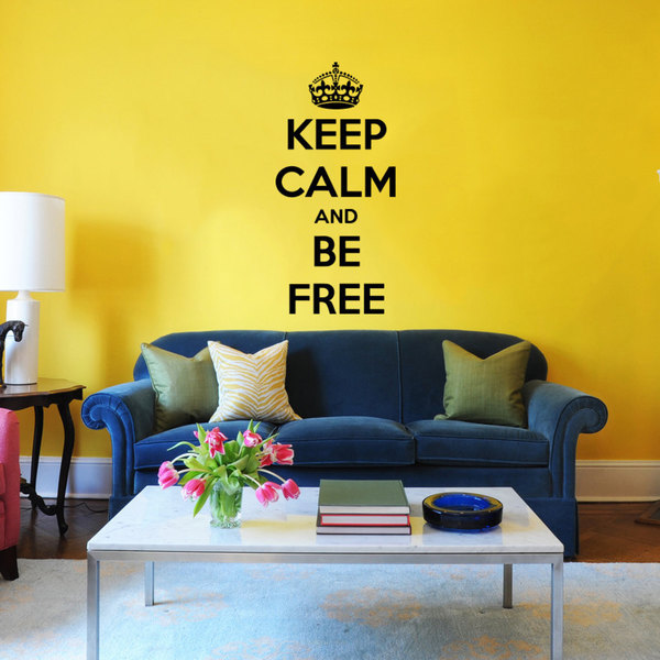 Keep Calm And Be Free Black Vinyl Sticker Wall Art - Free Shipping ...