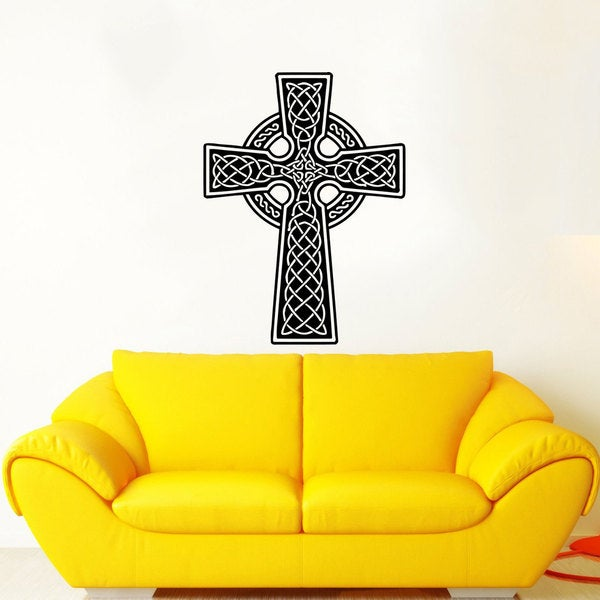 Celtic Cross Black Vinyl Sticker Wall Art