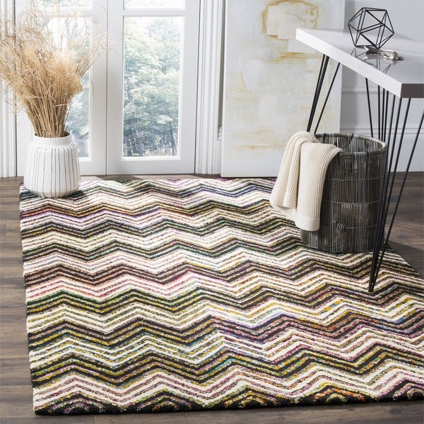 Safavieh Handmade Nantucket Abstract Chevron Ivory/ Black Cotton Rug (5' x 8')