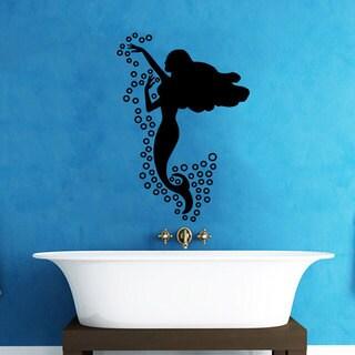 Water Bubbles Black Mermaid Vinyl Sticker Wall Art