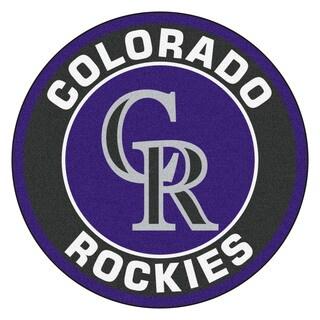 Fanmats MLB Colorado Rockies Black and Purple Nylon Roundel Mat (2'3 x 2'3)
