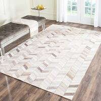 Safavieh Hand-Woven Studio Leather Modern Grey Leather Rug - 5' x 8'