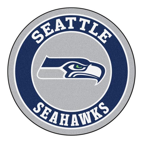 Fanmats Seattle Seahawks 3 Ft X 6 Ft Football Field: Fanmats NFL Seattle Seahawks Grey And Navy Nylon Roundel