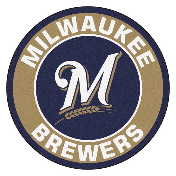Fanmats MLB Milwaukee Brewers Taupe Nylon Roundel Mat (2'3 x 2'3)