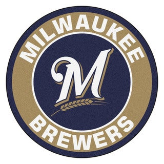 Fanmats MLB Milwaukee Brewers Taupe Nylon Roundel Mat (2'3 x 2'3)