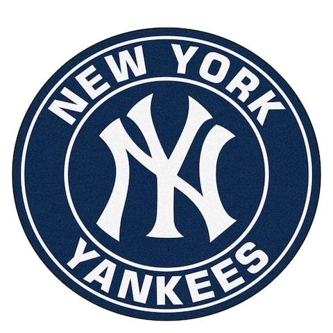 Fanmats MLB New York Yankees White and Black Nylon Roundel Mat (2'3 x 2'3)