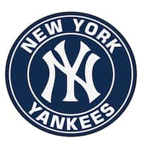 Fanmats MLB New York Yankees White and Black Nylon Roundel Mat (2'3 x 2'3)