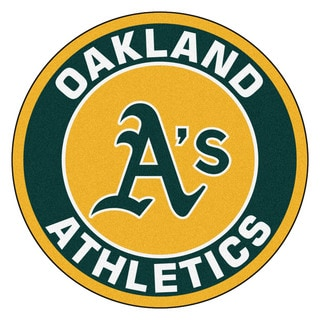 Fanmats MLB Oakland Athletics Yellow and Green Nylon Roundel Mat (2'3 x 2'3)