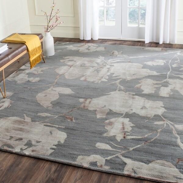 Safavieh Handmade Dip Dye Grey/ Beige Wool Rug (8' x 10')