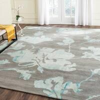 Safavieh Handmade Dip Dye Watercolor Vintage Grey/ Turquoise Wool Rug - 8' x 10'