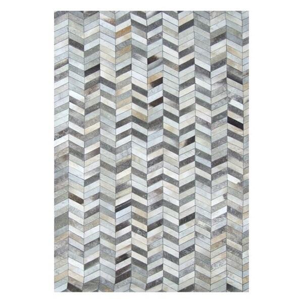 Safavieh Hand-Woven Studio Leather Modern Grey Leather Rug - 8' x 10'