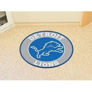 Fanmats NFL Detroit Lions Blue and Black Nylon Roundel Mat (2'3 x 2'3)