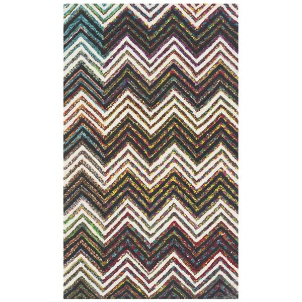 Safavieh Handmade Nantucket Abstract Chevron Ivory/ Black Cotton Rug (2' x 3') - 2' x 3'