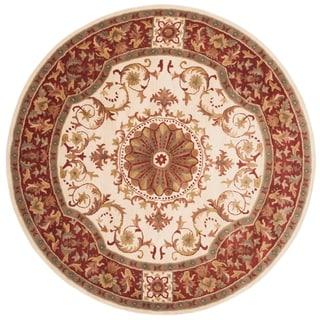 Safavieh Handmade Empire Ivory/ Red Wool Rug (6' Round)