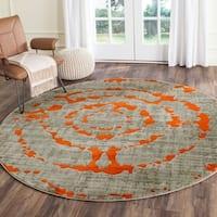 Safavieh Porcello Abstract Contemporary Light Grey/ Orange Rug - 6'7 Round