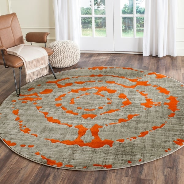 Safavieh Porcello Abstract Contemporary Light Grey/ Orange Rug - 6'7 Round
