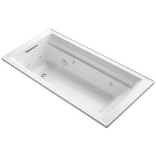 Kohler Archer 6 Foot Whirlpool Tub in White with Reversible Drain